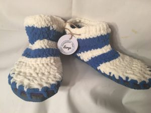 Ladies blue and white knitted booties