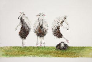 Painting of sheep called BoureeReleveEchappeBrise