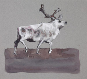 Painting of caribou in winter