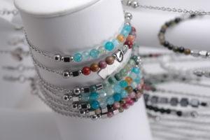 Multi-coloured beaded bracelets