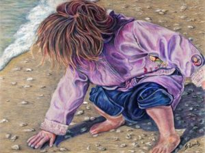 Pencil sketch of little girl on beach gathering seashells
