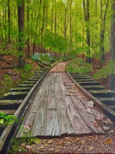 Painting of train track in the forest