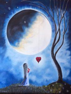 Girl looking at moon
