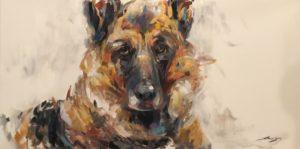 Painting of German Shepherd