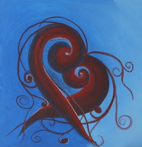 Abstract painting of a heart on blue background