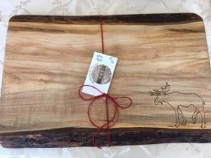Moose carved on maple wood