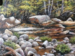 Painting of stream and rocks