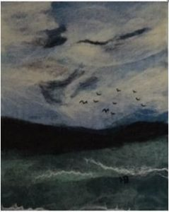 Painting of birds in the sky