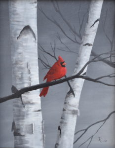 Painting of red cardinal bird in birch trees