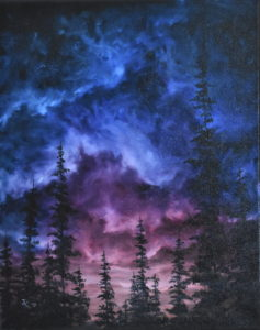 Painting of forest at dusk