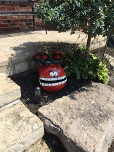 Red outdoor garden ornament