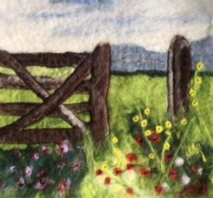 Felt picture of wooden gate