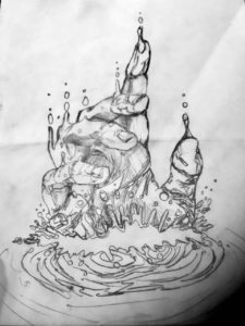 Drawing of hand reaching out of the water