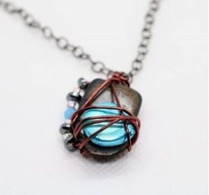 Blue wire wrapped necklace