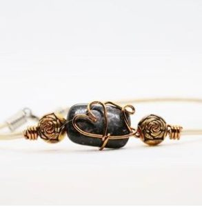 Brown wire wrapped bracelet