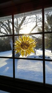 Glass sunflower window hanger