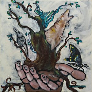 Painting of a hand holding roots